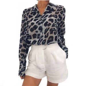 Wild things black & white leopard print shirt XL